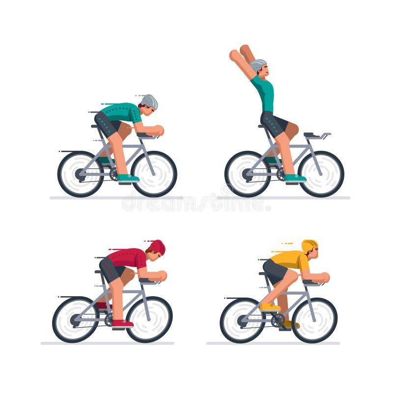 Grupa cykliści w drogowy ścigać się ilustracja wektor