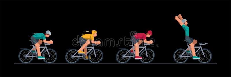 Grupa cykliści w drogowy ścigać się ilustracji