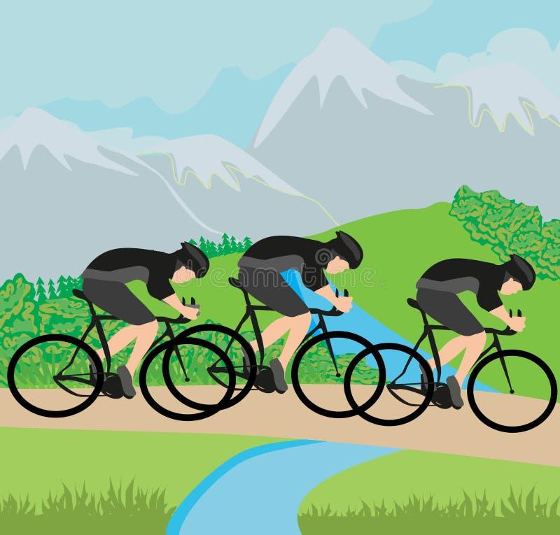 Grupa cykliści w górach royalty ilustracja