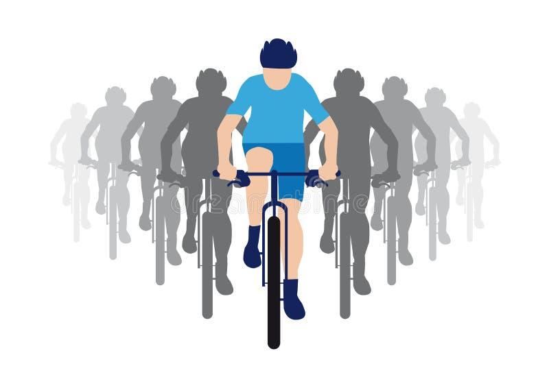 Grupa cykliści z liderem zespołu w błękitnym bieżnym bydle, cyklista ikona ilustracji