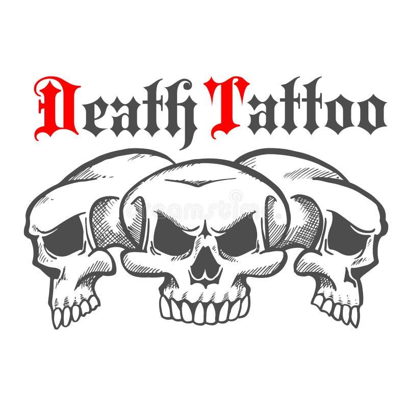 Grupa czaszki dla śmiertelnego tatuażu ilustracji