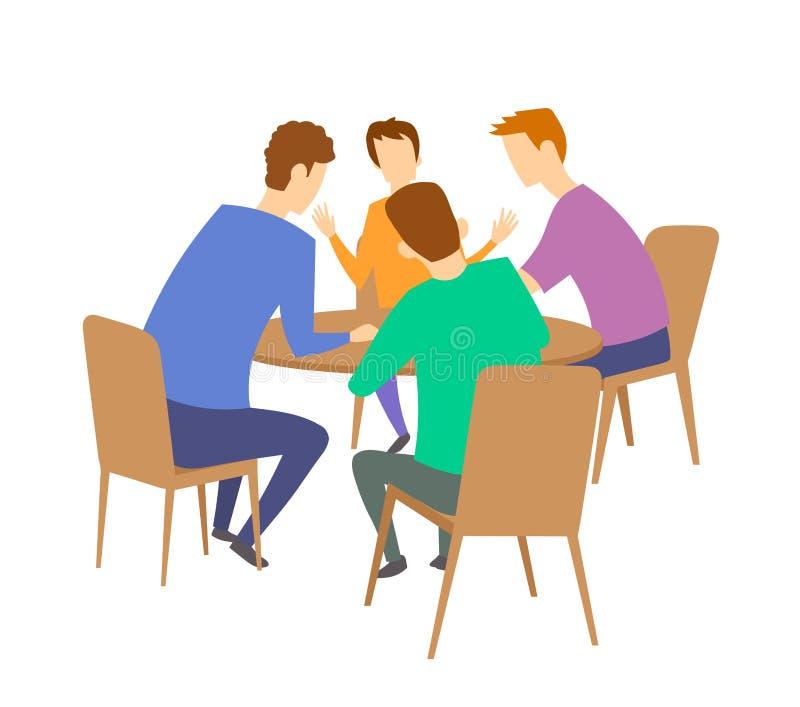 Grupa cztery młodzi ludzie ma dyskusję przy stołem brainstorming Płaska wektorowa ilustracja Odizolowywający na bielu ilustracja wektor