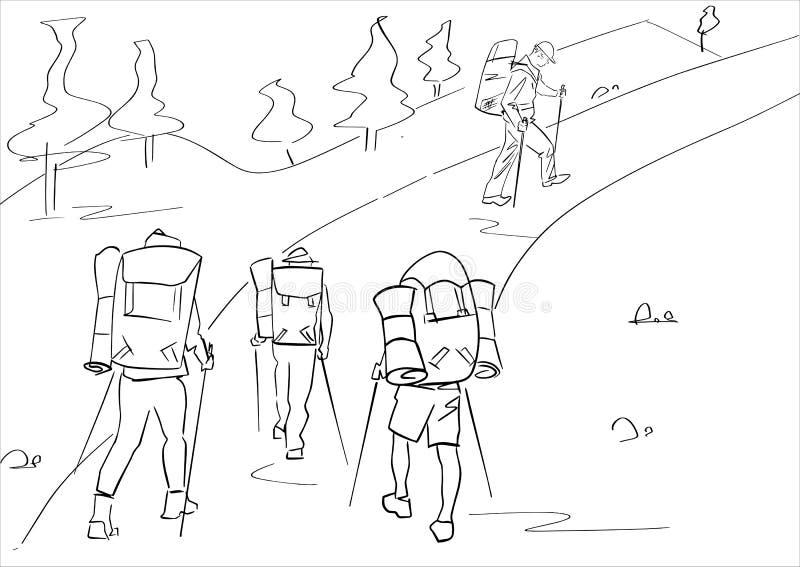 Grupa cztery turysty z wycieczkować kije i plecaki Abstrakt odizolowywaj?cy kontur R?ka rysuj?cy kontury Czarny kreskowy rysunek ilustracja wektor