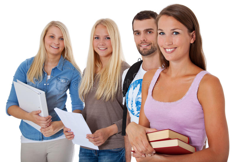 Grupa cztery ucznia obrazy royalty free