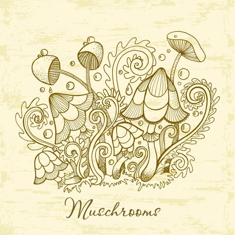 Grupa dekoracyjne pieczarki Śliczna pieczarki ilustracja, ręka rysująca kolekcja royalty ilustracja