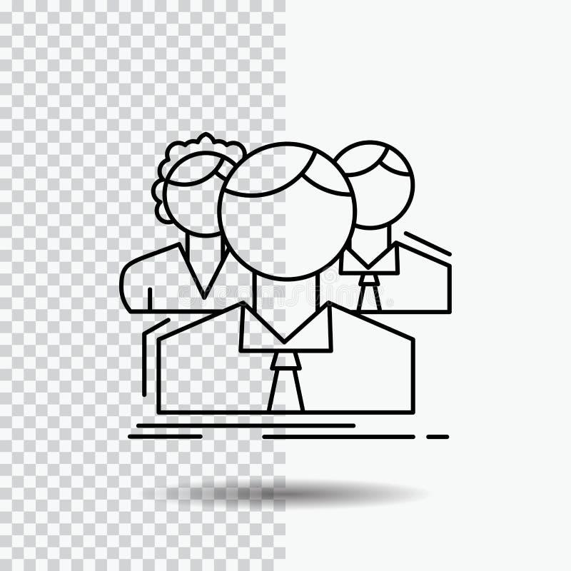 grupa, dla wielu graczy, ludzie, drużyna, online Kreskowa ikona na Przejrzystym tle Czarna ikona wektoru ilustracja ilustracja wektor