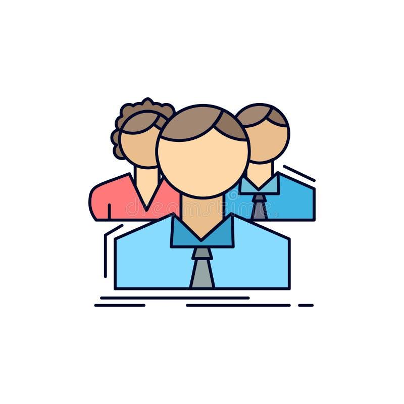 grupa, dla wielu graczy, ludzie, drużyna, online Płaski kolor ikony wektor ilustracji