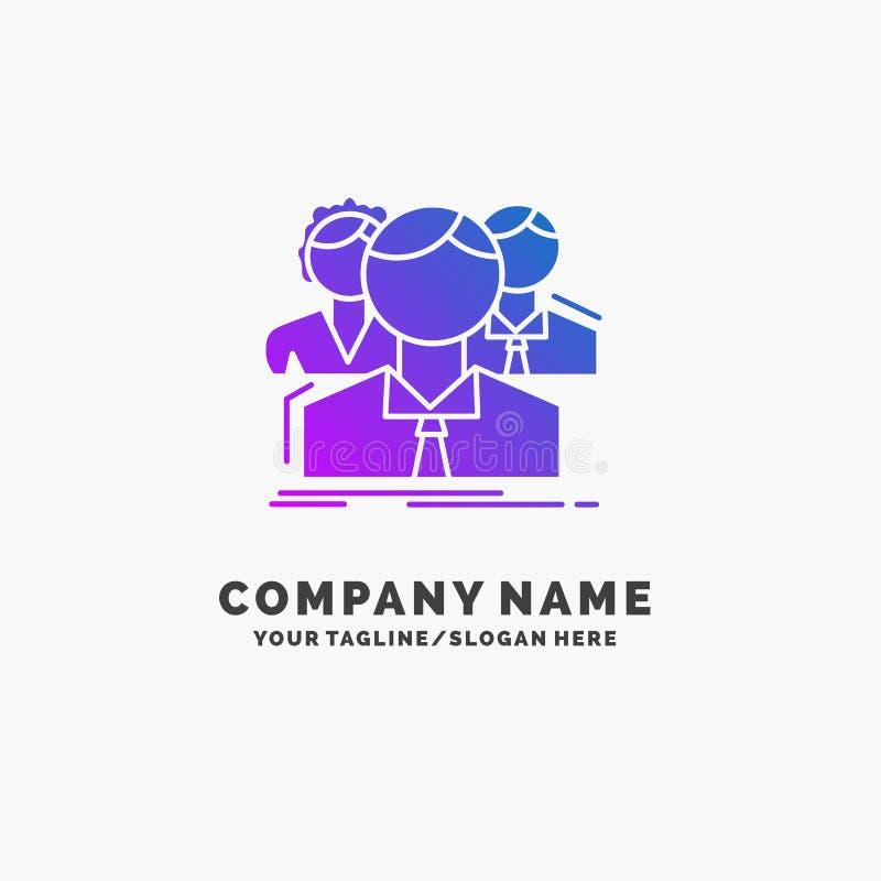 grupa, dla wielu graczy, ludzie, drużyna, online Purpurowy Biznesowy logo szablon Miejsce dla Tagline ilustracja wektor