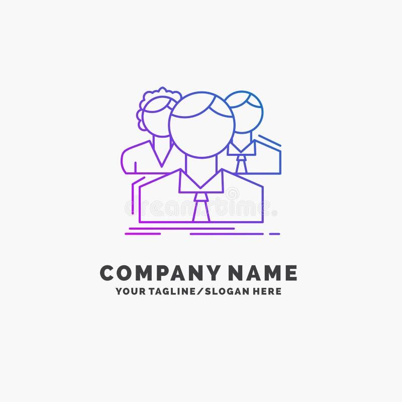 grupa, dla wielu graczy, ludzie, dru?yna, online Purpurowy Biznesowy logo szablon Miejsce dla Tagline ilustracja wektor