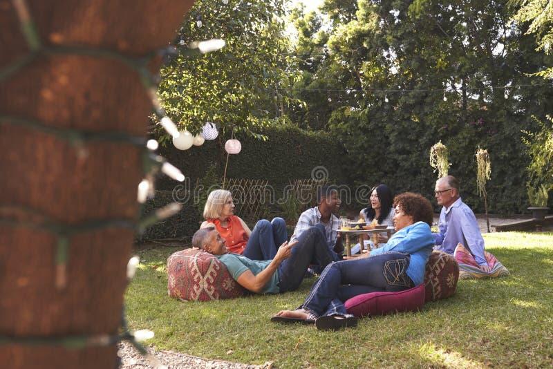 Grupa Dojrzali przyjaciele Cieszy się napoje W podwórku Wpólnie zdjęcia royalty free