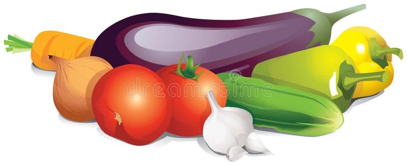 Grupa dojrzali warzywa na białym tle royalty ilustracja