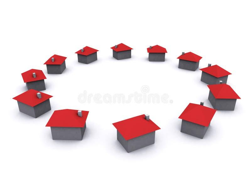 grupa domy. zdjęcie stock