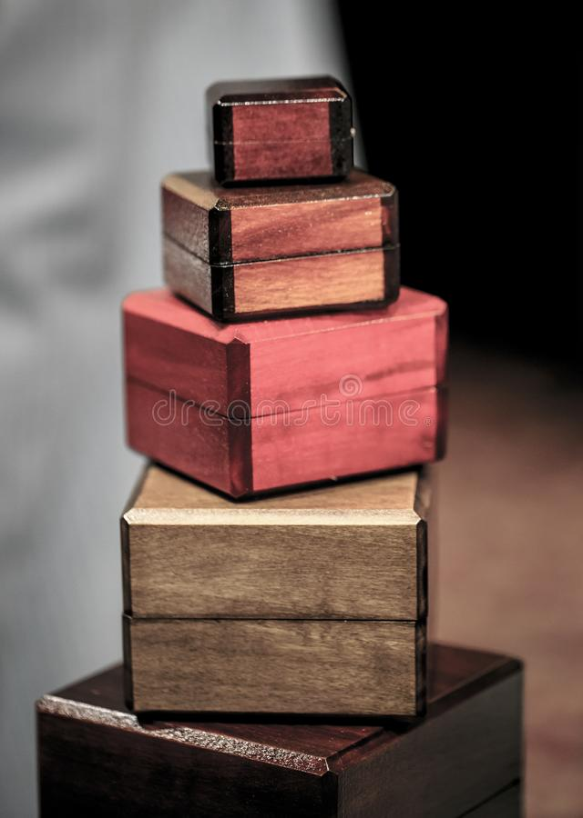 Grupa drewniani pudełka fotografia royalty free