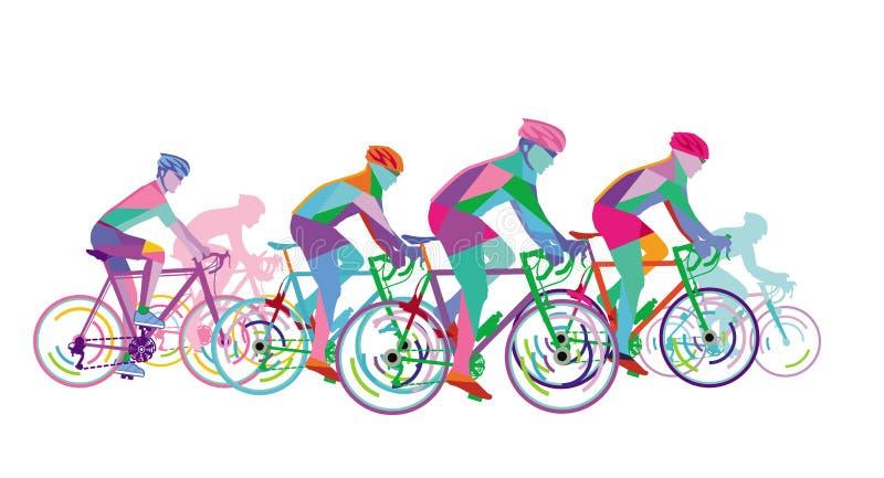 Grupa drogowi cykliści ilustracji