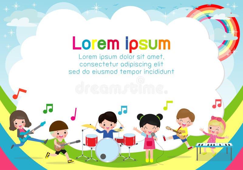 Grupa dzieci bawić się instrumenty muzycznych, kreskówka tana dzieciaki, szablon dla reklamowej broszurki, plakat twój tekst royalty ilustracja