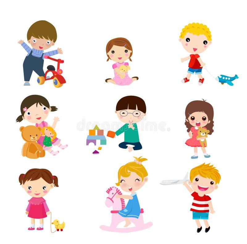 Grupa dzieci i zabawki ilustracji