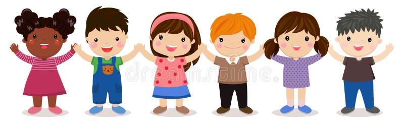 Grupa dzieci inkasowi royalty ilustracja