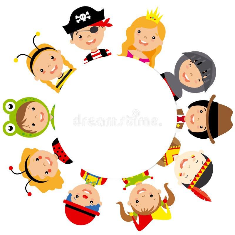 grupa dzieci ubierający royalty ilustracja