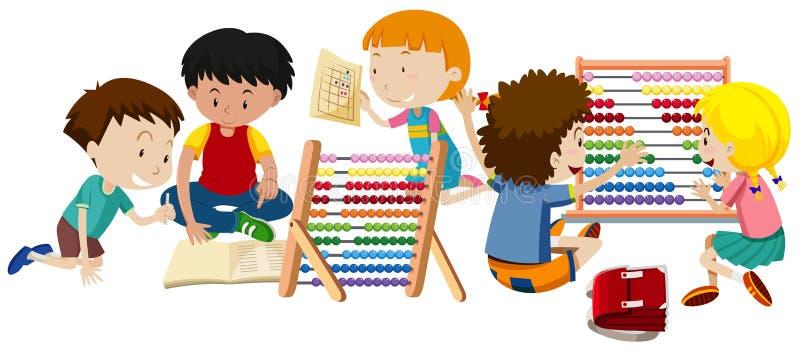 Grupa dzieci Uczyć się ilustracji