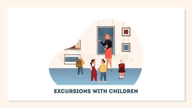 Grupa dzieci w muzeum Ekspozycja dzieci royalty ilustracja