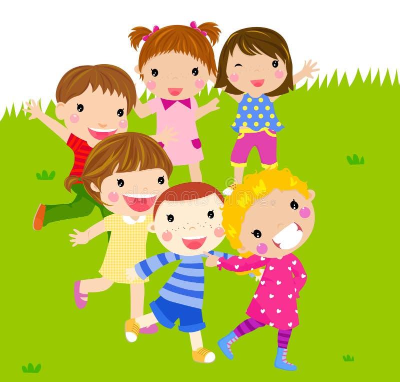 Grupa dzieciaków bawić się ilustracja wektor