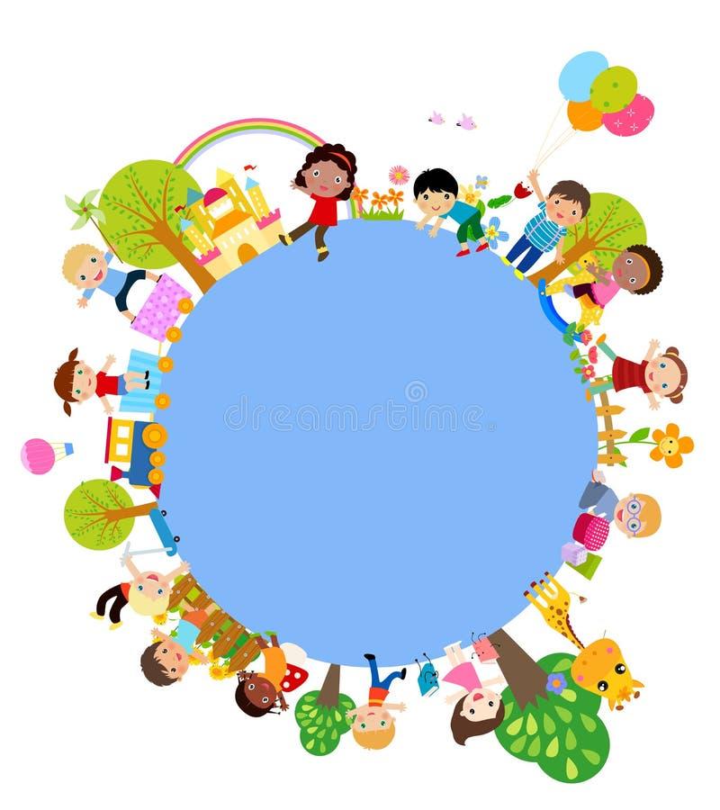 Download Grupa dzieciak rama ilustracja wektor. Ilustracja złożonej z leisure - 57662111