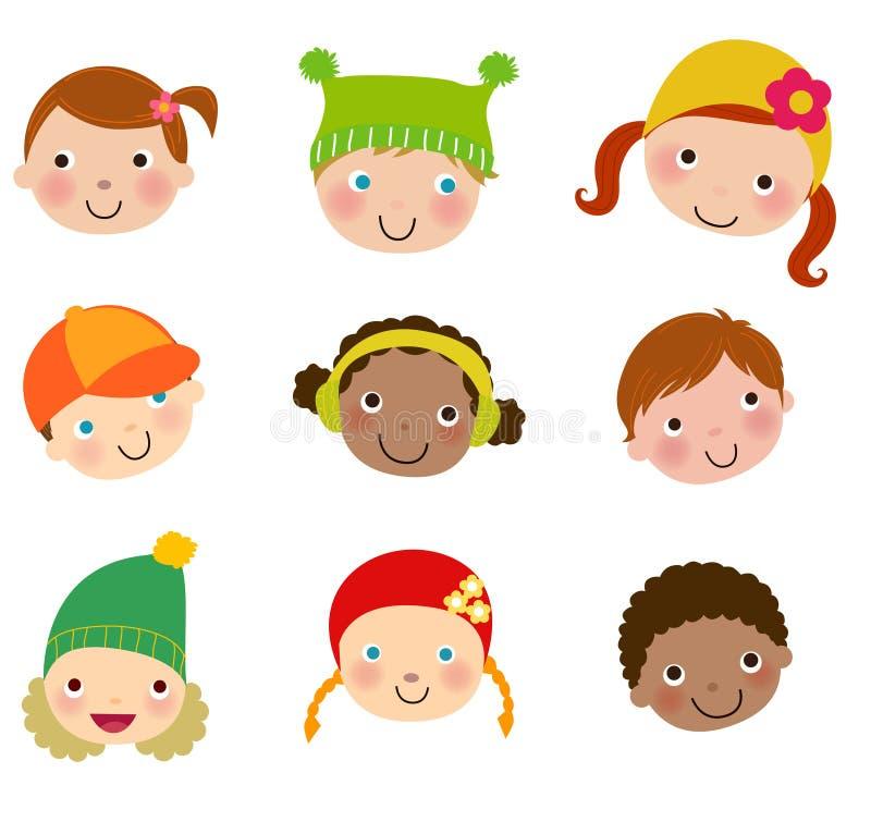Download Grupa dzieciak twarzy set ilustracja wektor. Ilustracja złożonej z dziecko - 57661515
