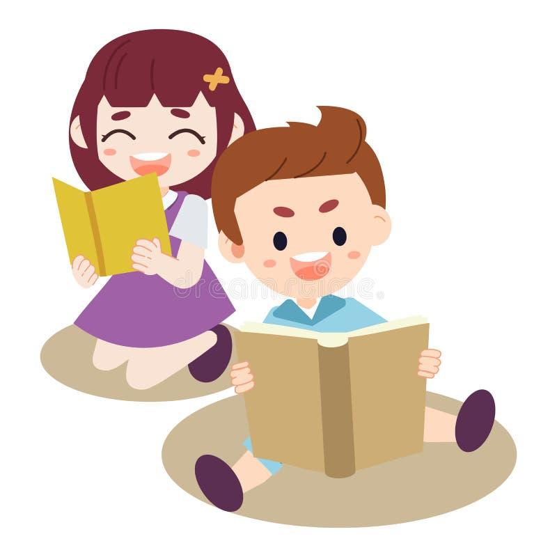 Grupa dzieciaki czyta książkę Dziecko robi pracie domowej chłopiec i dziewczyna czyta książkę Kocham czytanie myśl w górę, przywo ilustracja wektor