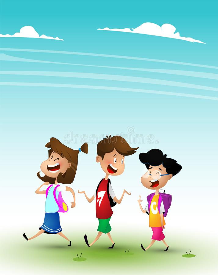 Grupa dzieciaki iść szkoła wpólnie royalty ilustracja