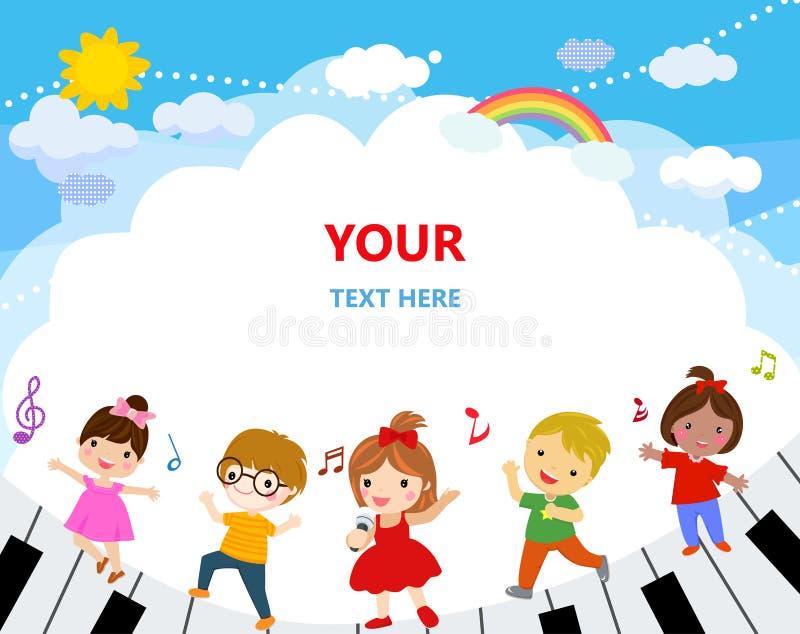 Grupa dzieciaki i muzyka royalty ilustracja
