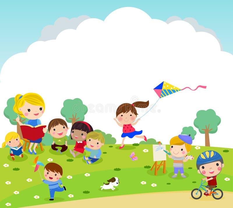 Grupa dzieciaki i nauczyciela bawić się plenerowy royalty ilustracja