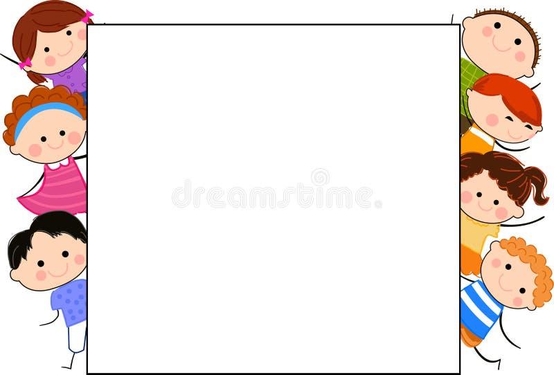 Grupa dzieciaki i rama royalty ilustracja