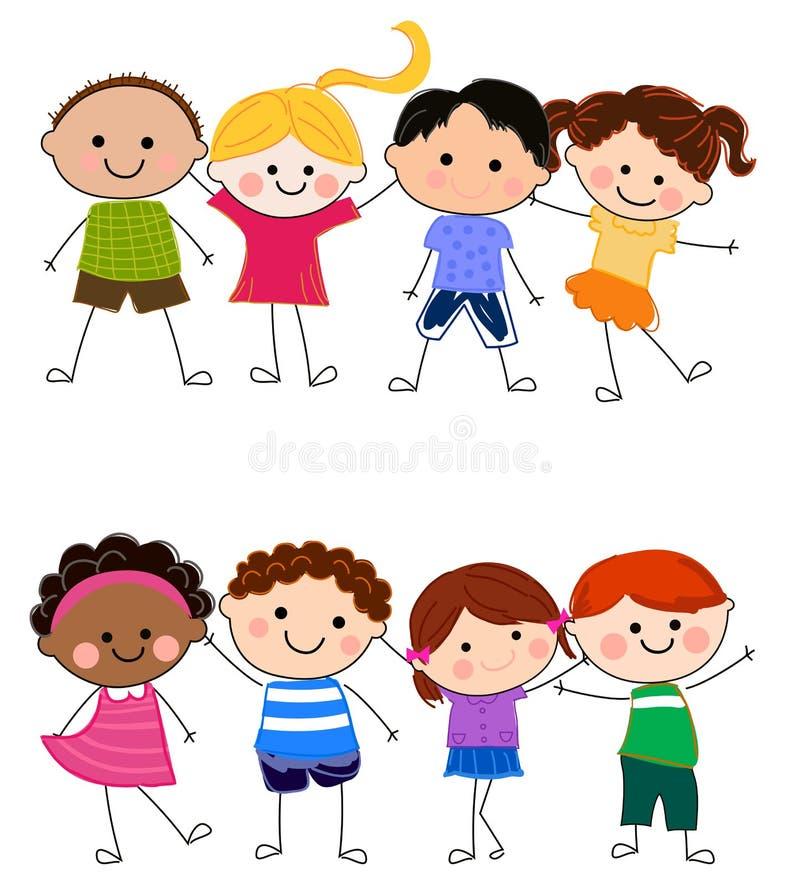Grupa dzieciaki ma zabawę ilustracja wektor
