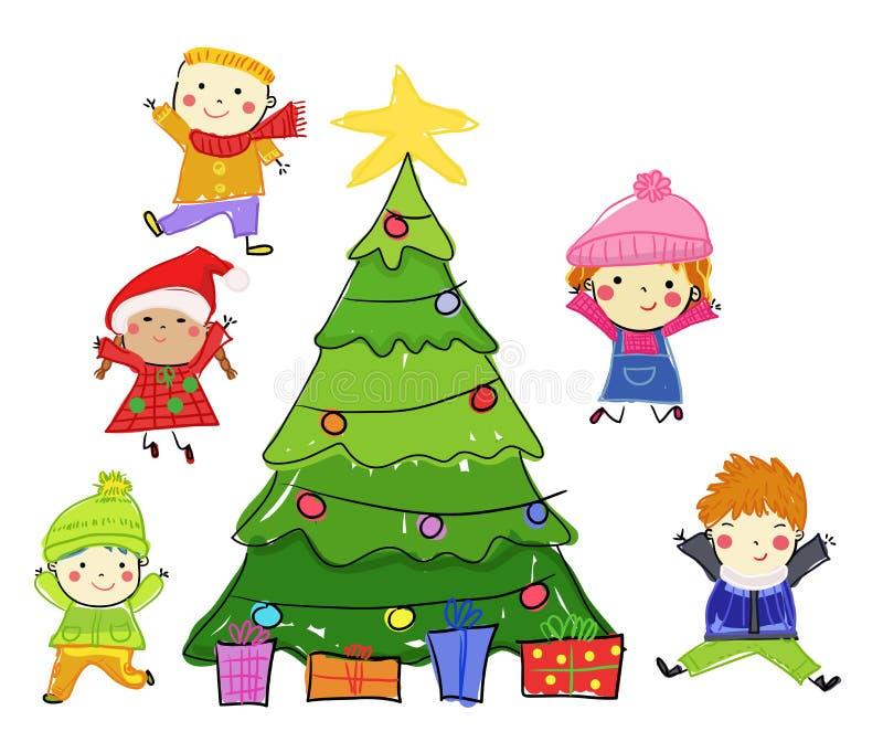 Grupa dzieciaki na zimie royalty ilustracja