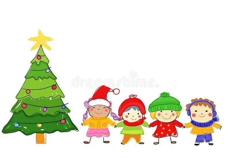 Grupa dzieciaki na zimie ilustracji