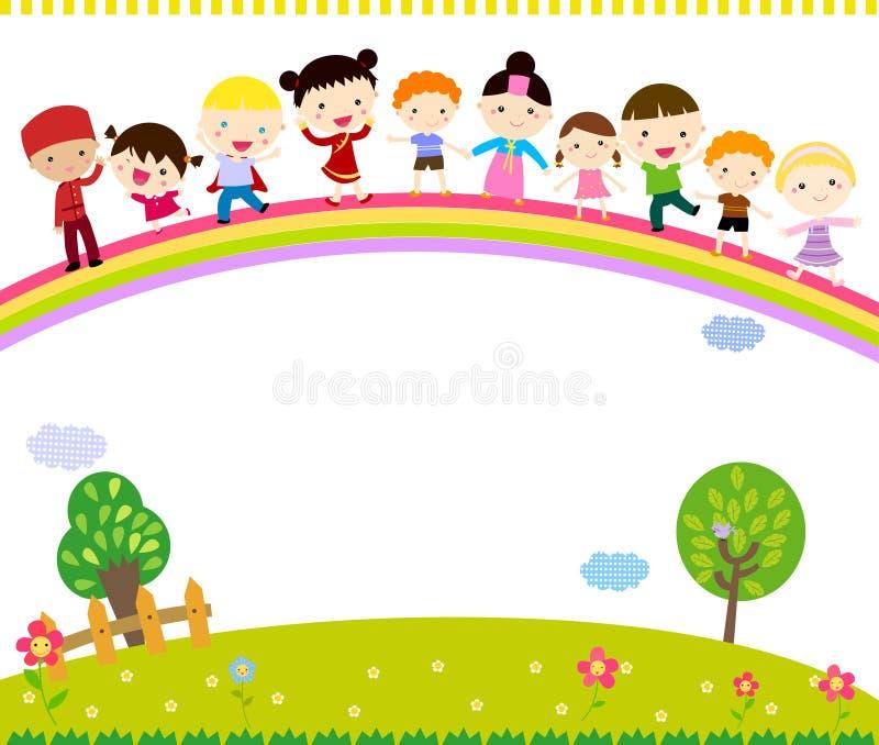 Grupa dzieciaki stoi na tęczy royalty ilustracja