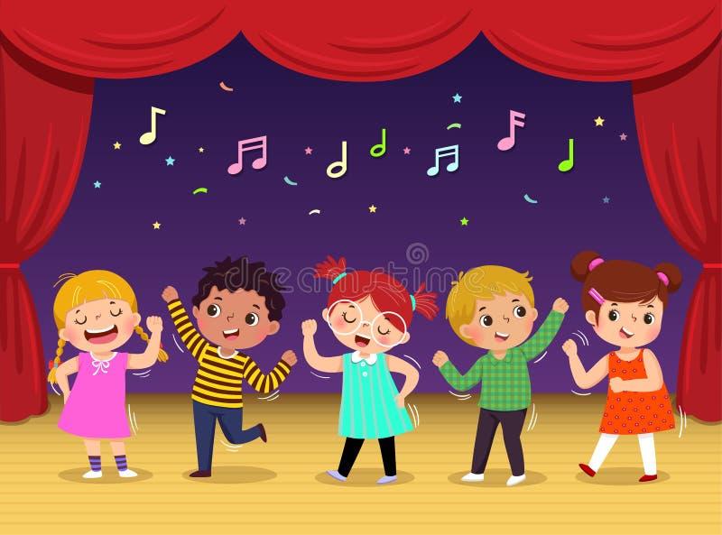 Grupa dzieciaki tanczy piosenkę na scenie i śpiewa Dziecko występ ilustracji