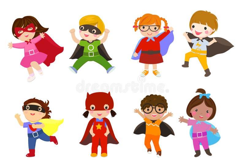 Grupa dziecko bohater ilustracji