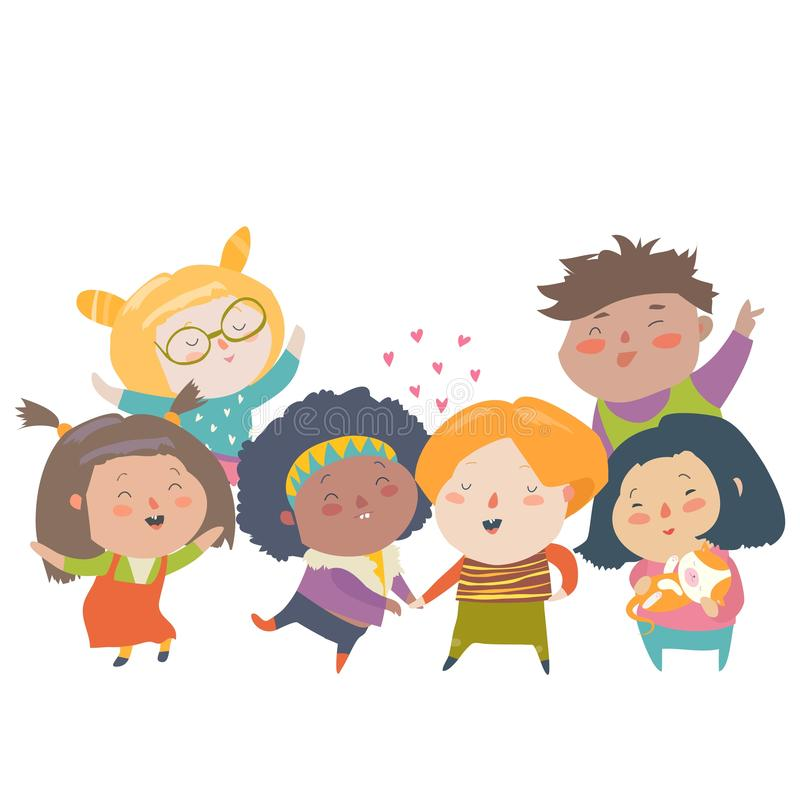 Grupa dziecko różne narodowości kolor skóry i Biegowa równość, tolerancja, różnorodność ilustracji