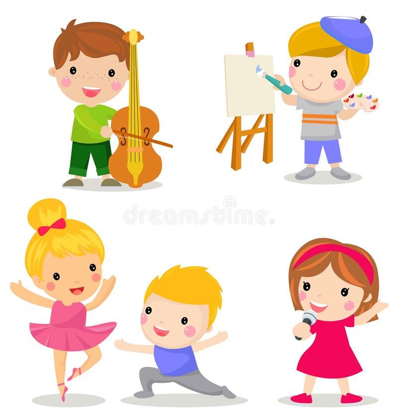 Grupa dziecko set: bawić się skrzypce, rysunek, taniec, śpiewa ilustracji