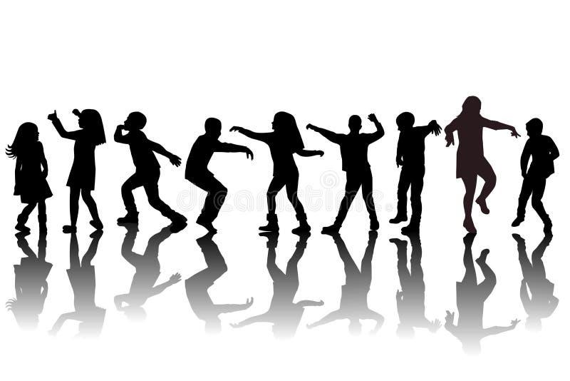Grupa dziecko sylwetek tanczyć ilustracja wektor