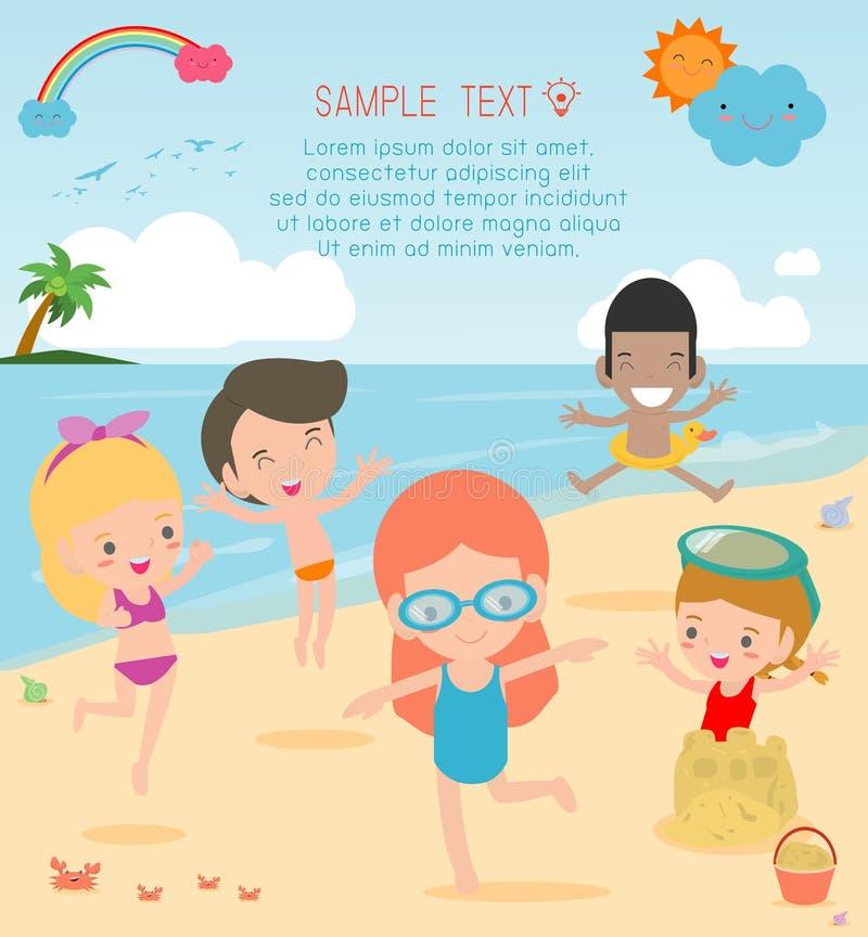 Grupa dziecko sztuka na plaży, Szczęśliwi dzieciaki na plaży, dziecko ma zabawę na pięknej plaży ilustracji