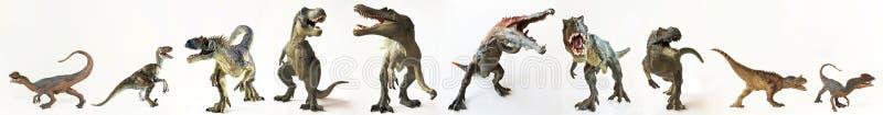 Grupa Dziesięć dinosaurów z rzędu obraz royalty free