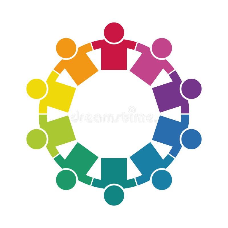 Grupa dziesięć persons w okręgu ręk target917_1_ Szczytów pracownicy spotykają w ten sam władza pokoju ilustracja wektor