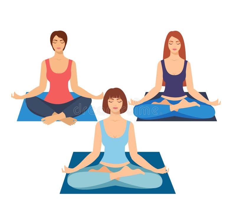 Grupa dziewczyny robi joga w studiu kobiety w lotosowej pozyci Medytować dziewczyny ilustrację Joga kobieta, medytacja, str ilustracji