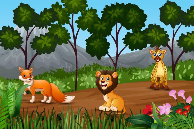 Grupa dzikie zwierzęta zbiera na kranu las ilustracji