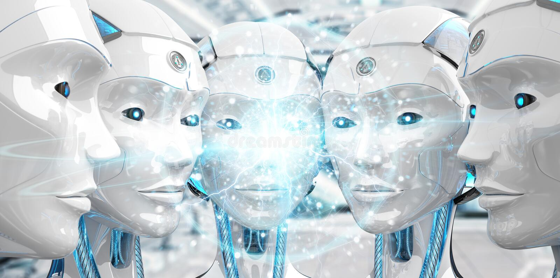 Grupa ?e?scy roboty przewodzi tworzy? cyfrowego sfery sieci 3d rendering royalty ilustracja