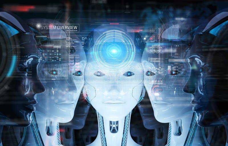 Grupa ?e?skie robot g?owy u?ywa cyfrowego hologram ekranizuje 3d rendering ilustracji