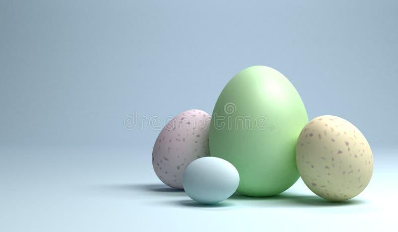 Grupa Easter jajka na bławym tle, 3d rendering ilustracja wektor