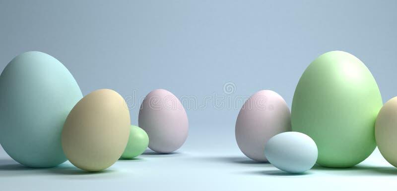 Grupa Easter jajka na bławym tle, 3d rendering obraz royalty free